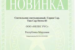 Сертификат 100 лучших товаров России Новинка Cap Down 03